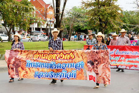 thai people: CHIANGMAI, THAILAND - FEBRUARY 2-2013 : Unidentified Thai people on the parade in ChiangMai Flower Festival 2013 at ChiangMai, Thailand.