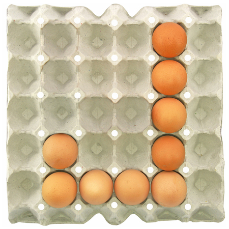 papier lettre: A letter J from the eggs in paper tray for food or nutrition concept Banque d'images