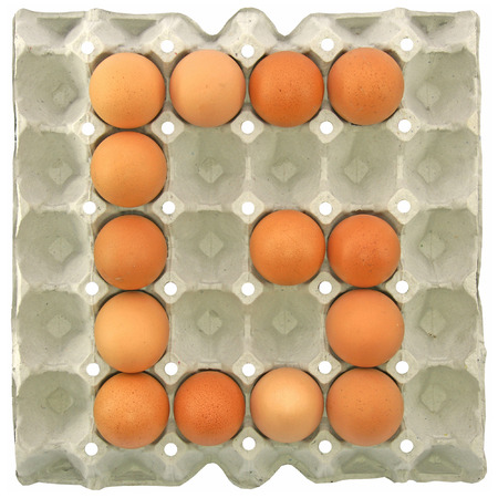 papier lettre: A letter G from the eggs in paper tray for food or nutrition concept