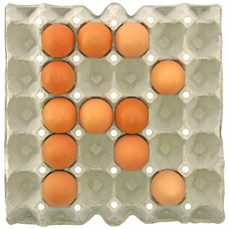 letter paper: A letter R from the eggs in paper tray for food or nutrition concept