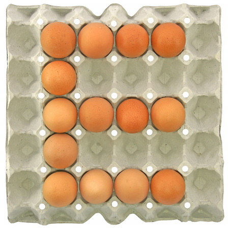 letter paper: A letter E from the eggs in paper tray for food or nutrition concept