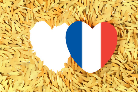 paddy: Heart with paddy background and flag of france for Pray for Paris concept Stock Photo