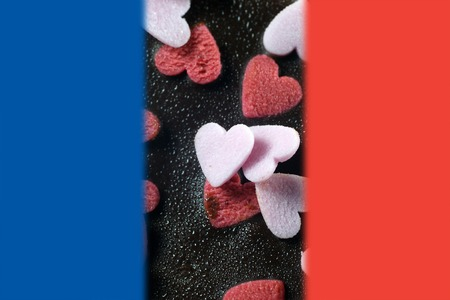 frence: Chocolate brownie cake with flag of france for Pray for Paris concept