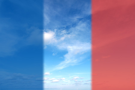 frence: Beautiful Summer Clouds in the blue sky  with flag of france for Pray for Paris concept