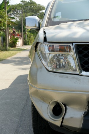 pickup truck: A dent on the right front of a pickup truck damage from crashed accident Stock Photo