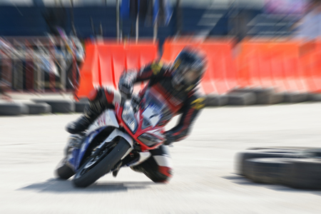 contender: High speed movement of motorbike racing Stock Photo