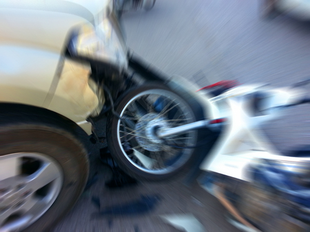 accident patient: Pickup crashes motorcycle on the road