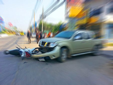 injurious: Pickup crashes motorcycle on the road