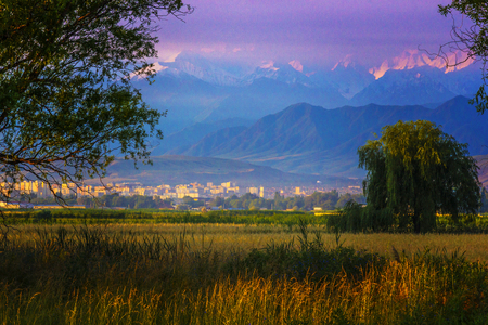 The beautiful scenic in Bishkek city with mountains