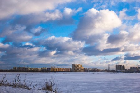multi-storey residential buildings in the big city. Winter cityscape, St. Petersburg Murino district, village