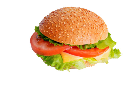 the usual homemade hamburger with no meat on white background isolate