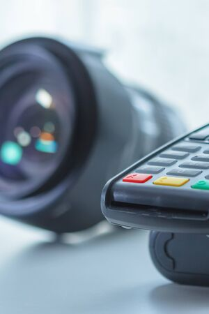 photographic equipment credit payment, terminal Stockfoto