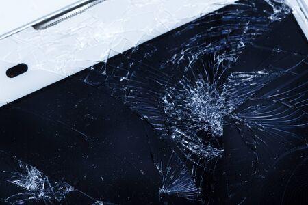 Broken phone screen macro close up