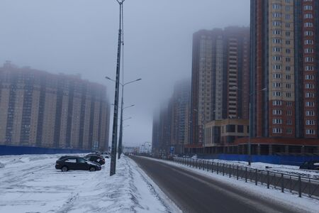Saint Petersburg, Russia. 2019, January. Fog on one of the districts of the city