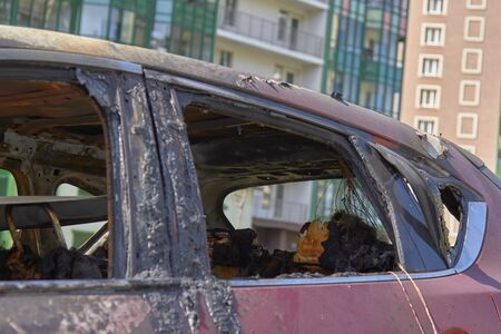 city burned cars, some details after a fire in one of the city's districts