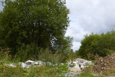 illegally dumped garbage on the background of green nature