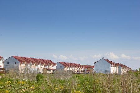 residential buildings are quiet suburbs of a modern European city.