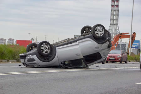 Saint Petersburg, Russia-June 08, 2019: an overturned car in one of the citys districts Redactioneel