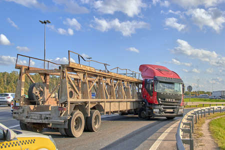 Saint Petersburg, Russia-June 08, 2019: a truck spun on the ring road due to a burst wheel a large traffic jam accumulated