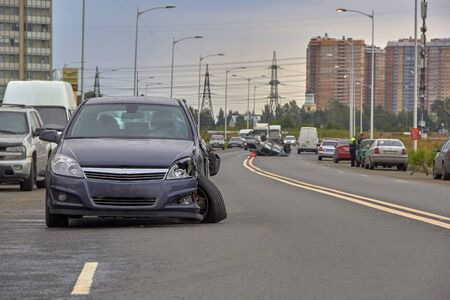 car crash accident on the road in the big city. Stockfoto