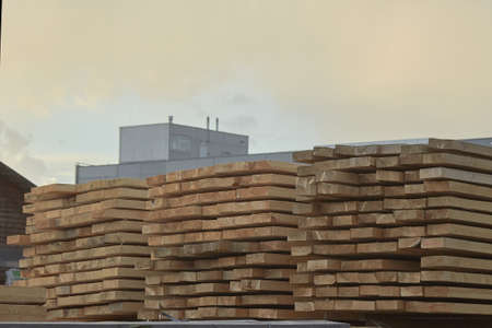 Pallet storage of wood in the company in the industrial zone of the city on a spring day. Stock Photo