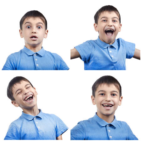 set of emotions of a child in a blue t-shirt isolated on a white background. 스톡 콘텐츠