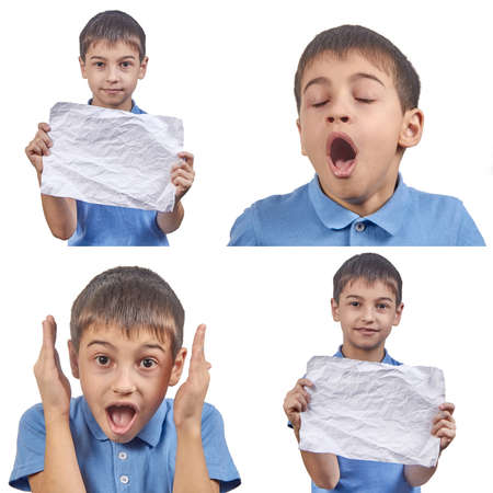 set of emotions of a child in a blue t-shirt isolated on a white background.