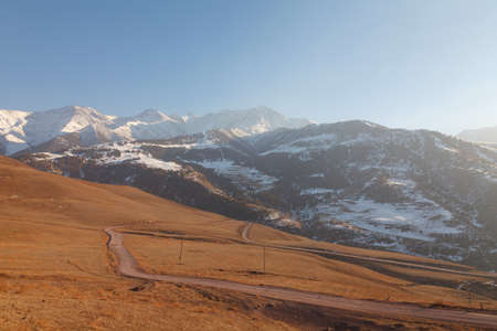 Panorama of the mountains: The Tien Shan Mountains in the evening before sunset