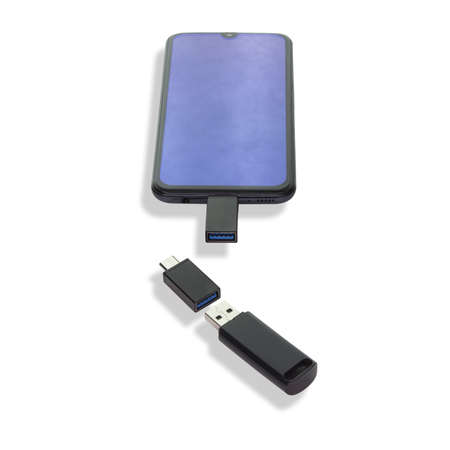 Isolated on a white background phone or smartphone with USB OTG data transfer connected to a USB flash drive