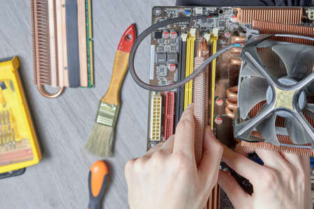Computer repair cleaning of components, from dust your