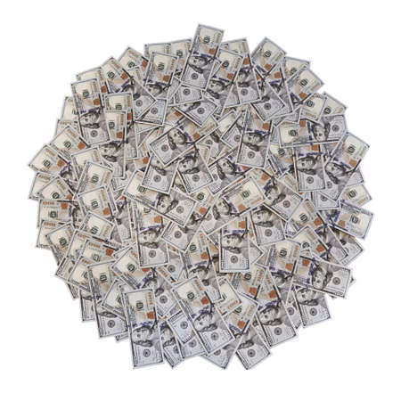 American money in a circle of isolate on a white background Standard-Bild