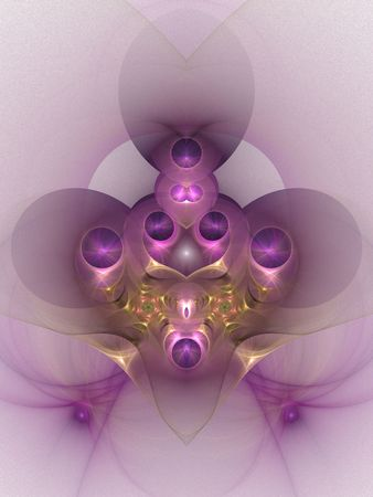 jeweled: Abstract fractal design resembling an orchid or a jeweled broach