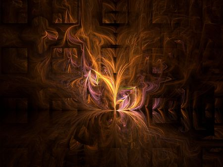 Fractal abstract resembling fire reflected on a paneled wall