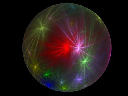 Fractal resembling a glass globe with swirling fireworks