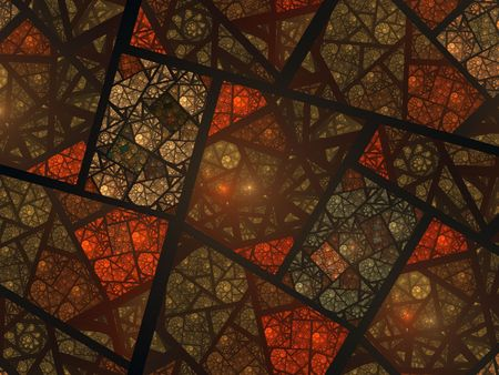 stained glass windows: Abstract fractal swirly stained glass window in earth tones Stock Photo