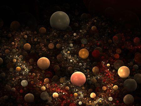 3D Fractal design of various sized balls, resembling a creek or aquarium bed.