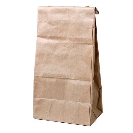 pochette: Recycled paper shopping bag isolated on white background Stock Photo