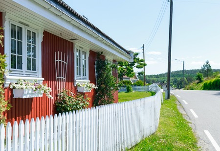 typical: Typical Norwegian house in village Stock Photo
