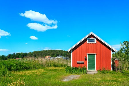 norwegian: Typical Norwegian house in village Stock Photo