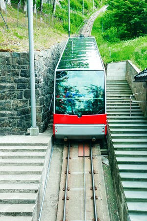 city and county building: Floibanen funicular to Mt Floyen at Bergen City, mountain in Norway