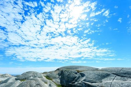 ende: Norwegian sea and rocky mountains - Verdens Ende Stock Photo
