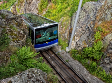 city and county building: Floibanen funicular to Mt Floyen at Bergen City, from Top of Mount Floyen Glass Balcony Viewpoint mountain in Norway
