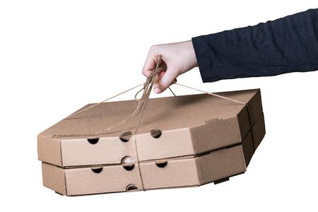 yuletide: Female hands holding box isolated on white background