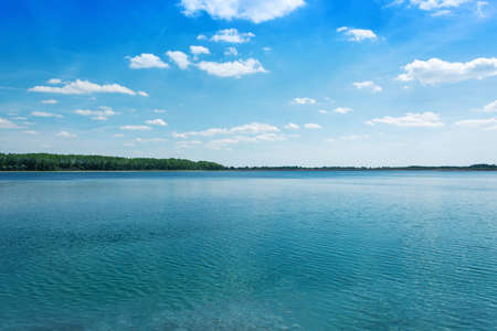horizontal line of nature landscape of blue lake summer time relaxing holidays