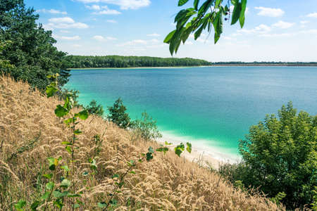 blue lagun lake on summer time calming nature view Banque d'images