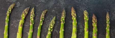 close up asparagus on the table horizontal, panorama, panoramic Banque d'images