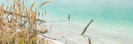 blue lagun lake on summer time horizontal, panorama, panoramic