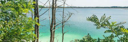 calm lake behind the trees horizontal, panorama, panoramic
