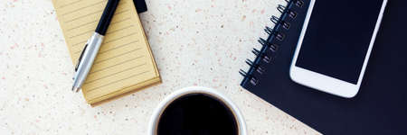 desktop mock up with smartphone coffee notebook and pen, white and blue horizontal, panorama, panoramic