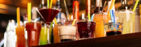 a lot of drinks on bar horizontal, panorama